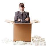 在配件箱的生意人 免版税库存图片