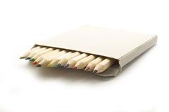 在配件箱的蜡笔 免版税库存照片