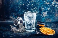 在酒吧、客栈或者餐馆的鸡尾酒 被服务的茶点酒精饮料寒冷 免版税库存照片