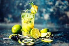 在酒吧或客栈的酒精鸡尾酒饮料 杜松子酒和石灰鸡尾酒用菠萝和冰由侍酒者服务了寒冷 免版税库存照片
