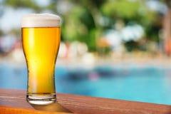 在酒吧桌上的冰镇啤酒玻璃 库存照片