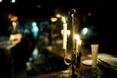 在酒吧的蜡烛 库存照片