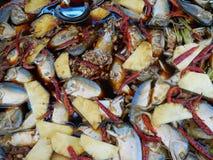 在酱油的煮沸的鲭鱼鱼 库存图片