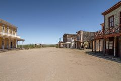 在酶斯卡尔酒,亚利桑那的老狂放的西部电影布景 免版税库存照片
