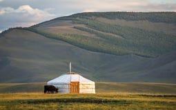在酷寒北风蒙古风景的家庭ger  免版税图库摄影