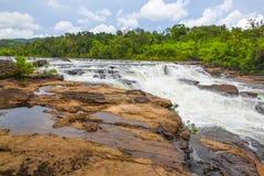 在酸值kong省的Ta Tai瀑布在泰国边界附近的柬埔寨王国 图库摄影