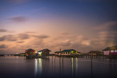 在酸值Yo海岛的暮色时间,宋卡,泰国 图库摄影