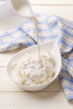 在酸奶干酪的倾吐的牛奶店奶油 免版税图库摄影