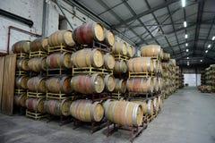 在酿酒厂圣丽塔的葡萄酒桶 图库摄影