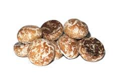 在釉的姜饼曲奇饼在白色背景 免版税图库摄影