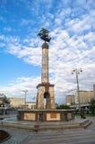 在里加喷泉的纪念碑在Rizhskiy火车站前面的小公园在莫斯科 库存图片
