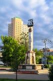 在里加喷泉的纪念碑在Rizhskiy火车站前面的小公园在莫斯科 免版税库存图片