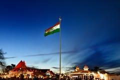 在里奇点的印度旗子在西姆拉 免版税库存照片