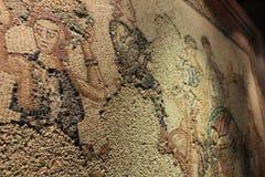 在里斯本全国考古学博物馆陈列的美丽的马赛克  免版税库存图片