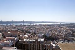在里斯本的Panomaric视图 库存图片