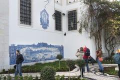 在里斯本装饰的墙壁,葡萄牙 图库摄影