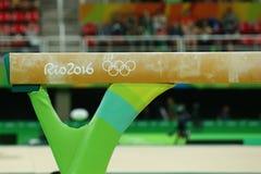 在里约奥林匹克竞技场的平衡木在里约2016年奥运会期间 免版税库存图片