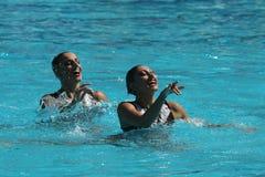 在里约时任意合作行动的希腊2016年奥运会的花样游泳二重奏惯例初步竞争 免版税图库摄影