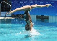 在里约时任意合作行动的希腊2016年奥运会的花样游泳二重奏惯例初步竞争 免版税库存照片