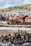 在里约Tinto矿放弃的老蒸汽机车 免版税库存照片