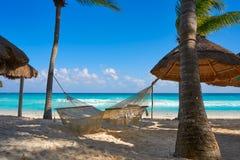 在里维埃拉玛雅人的海滨del卡门海滩 免版税库存照片