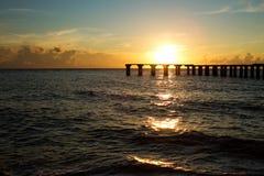 在重创的boca,佛罗里达的日落 库存图片