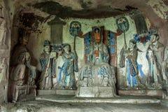 在重庆蜀国diagenetic峭壁玉适当位置的大足石刻 库存图片