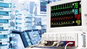 在重症监护病房的心脏病显示器 免版税库存照片