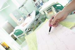 在重症监护病房的监视ECG 免版税库存照片