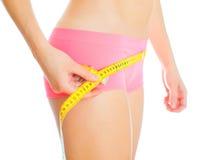 在重量白人妇女的美好的腹部概念损失 库存图片
