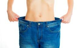 在重量白人妇女的美好的腹部概念损失 免版税库存图片