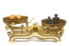 在重量的鸡蛋。 免版税库存照片