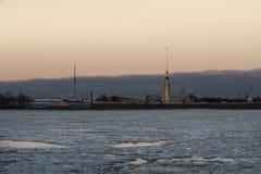 在野兔海岛圣彼德堡上的彼得和保罗堡垒 库存照片
