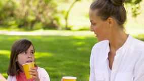 在野餐的幸福家庭饮用的汁液在公园 股票视频