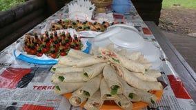 在野餐的快餐 图库摄影