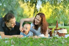 在野餐的愉快的家庭 免版税库存图片
