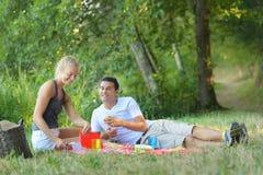 在野餐的新夫妇 库存照片