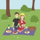 在野餐的浪漫夫妇 向量例证