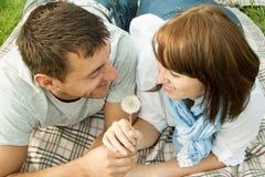 在野餐的浪漫拥抱夫妇 免版税库存图片