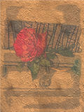 在金丝带礼物绘的花 免版税库存照片