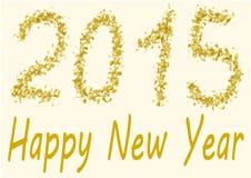 在金亮晶晶的小东西的新年快乐2015年 库存照片