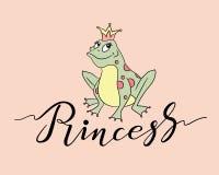 在金冠的公主青蛙 库存例证