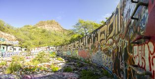 在金刚石头火山口的街道画 免版税图库摄影