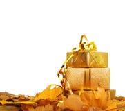 在金包装纸的礼物盒与秋叶 库存照片