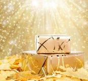 在金包装纸的礼物盒与秋叶 图库摄影