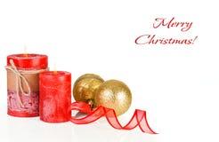 在金子和红色的圣诞节装饰 免版税库存图片