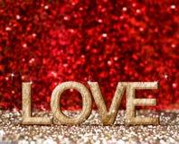 在金子和红色闪耀的室,嘲笑爱由木头做的词 向量例证