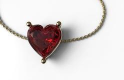 在金子和金链子的红宝石心脏形状 库存照片