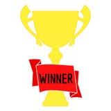 在金子的冠军杯与红色丝带和incription优胜者 第一个地方的冠军奖 图库摄影