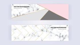 在金子的几何横幅,闪烁、灰色、粉红彩笔和大理石构造背景 设计的模板,卡片,飞行物 库存例证
